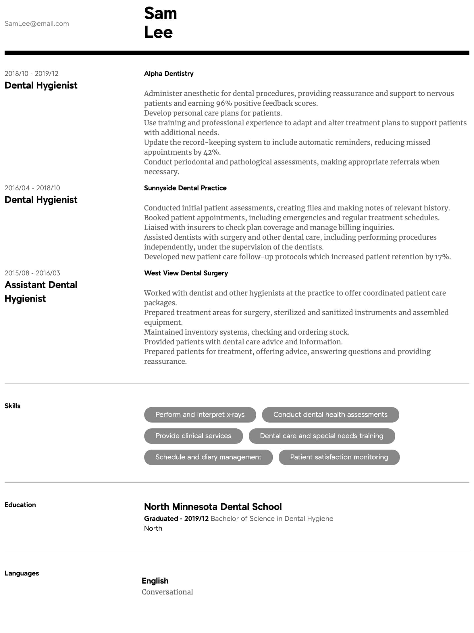 dental hygienist resume samples all experience levels hygiene format intermediate hostess Resume Dental Hygiene Resume Format