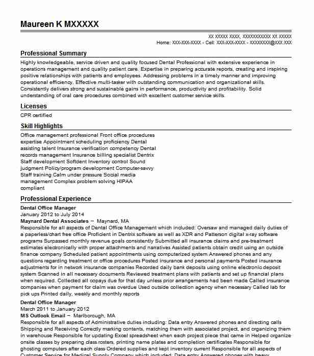 dental office manager resume example east boca raton operations desktop support engineer Resume Dental Operations Manager Resume
