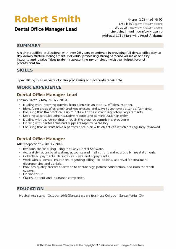 dental office manager resume samples qwikresume operations pdf hobbies interests examples Resume Dental Operations Manager Resume