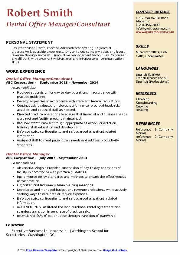 dental office manager resume samples qwikresume operations pdf multiple locations same Resume Dental Operations Manager Resume