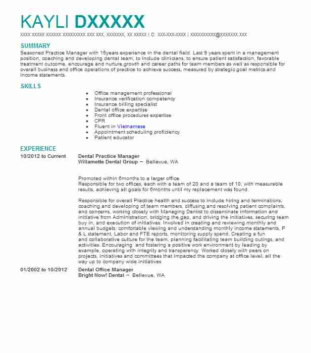 dental practice manager resume example comprehensive pompton plains new operations skills Resume Dental Operations Manager Resume