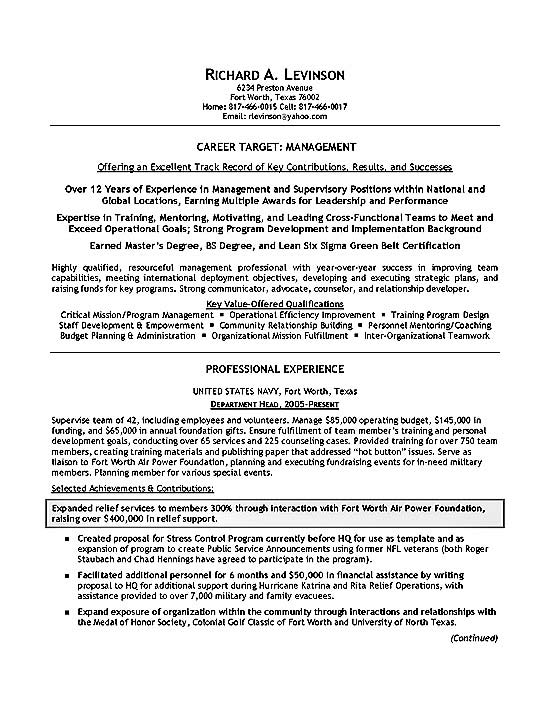 department manager resume example targeted objective examples military2a clearpoint hco Resume Targeted Resume Objective Examples