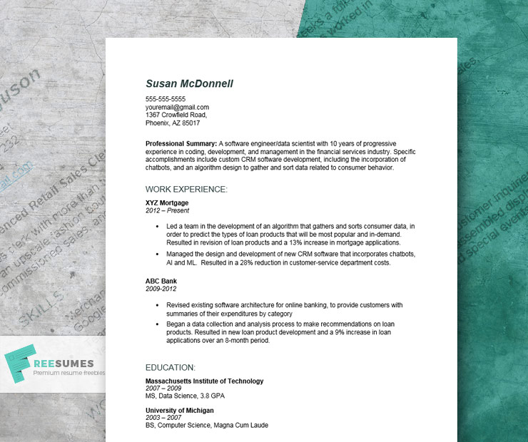 detailed resume example for engineering positions freesumes professional summary Resume Professional Summary For Engineering Resume