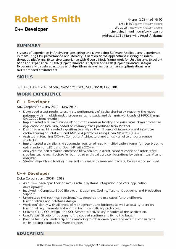developer resume samples qwikresume projects for pdf get professional help with software Resume C++ Projects For Resume