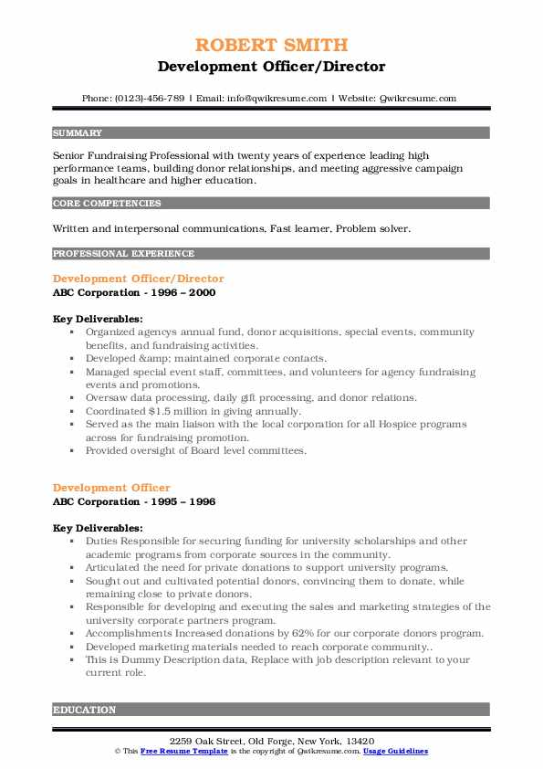 development officer resume samples qwikresume fund pdf ucsd template dunkin donuts crew Resume Fund Development Resume