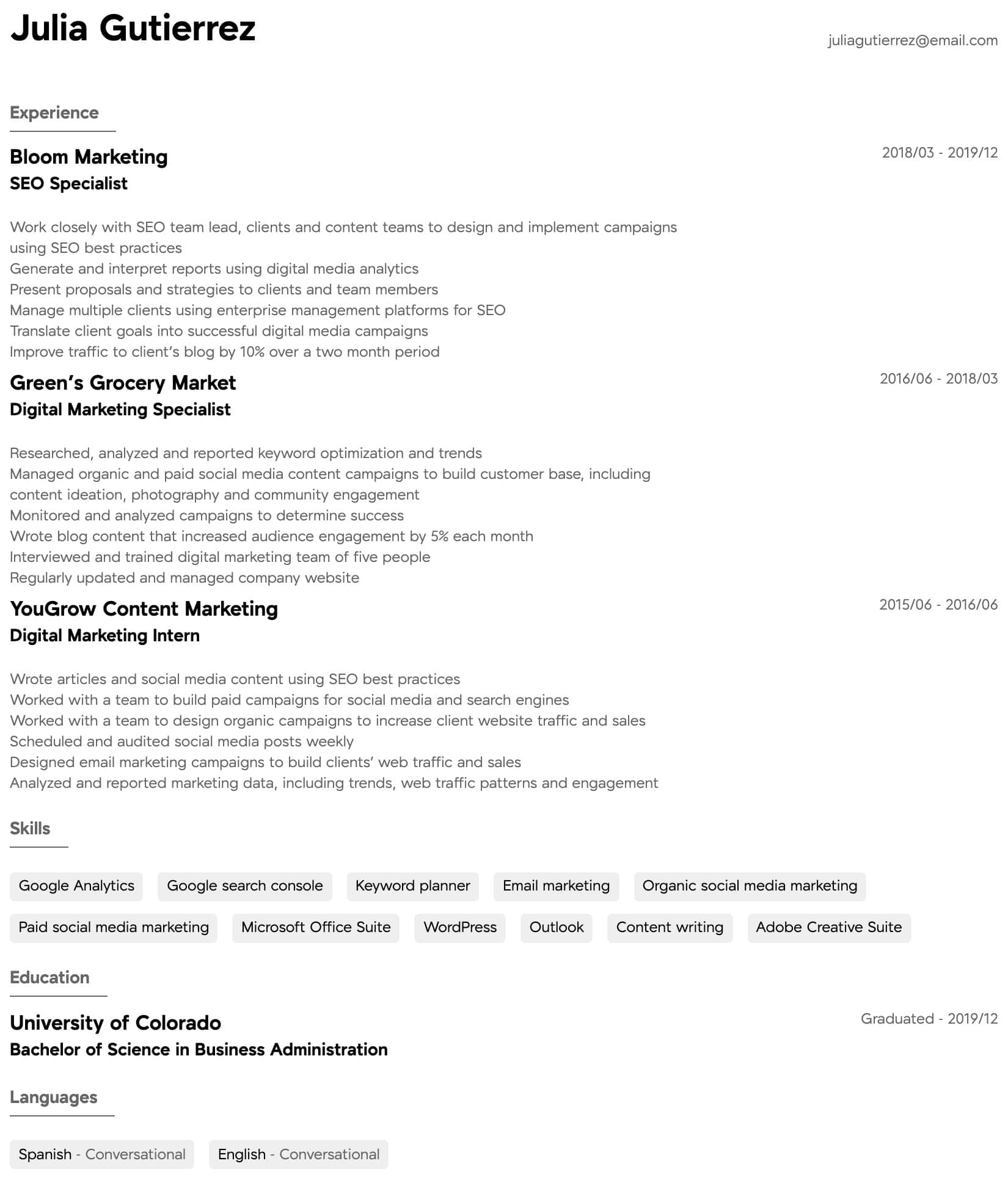 digital marketing resume samples all experience levels content intermediate esthetician Resume Content Marketing Resume