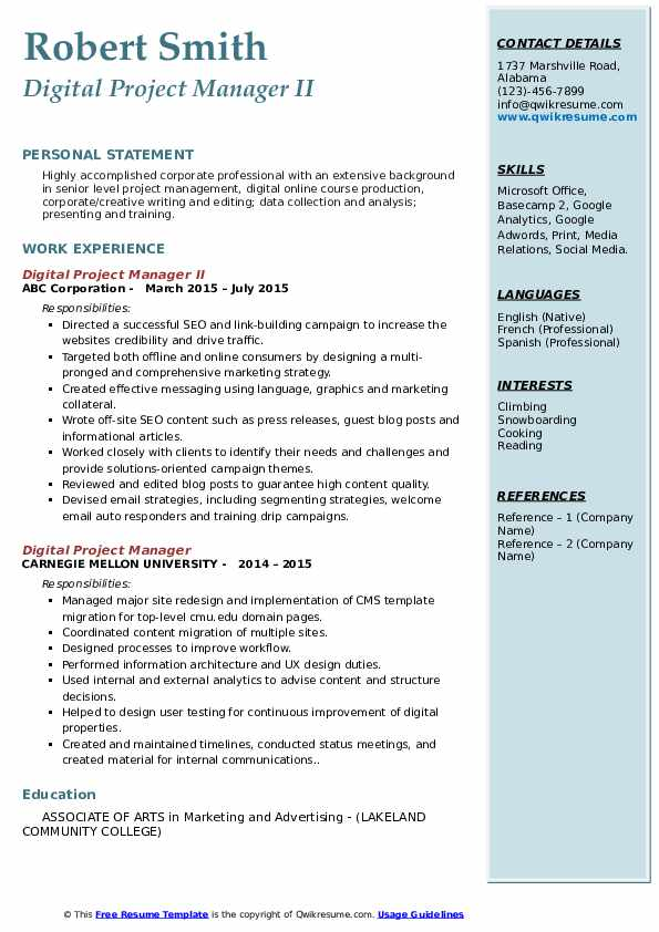 digital project manager resume samples qwikresume modern pdf caregiver summary for group Resume Modern Project Manager Resume