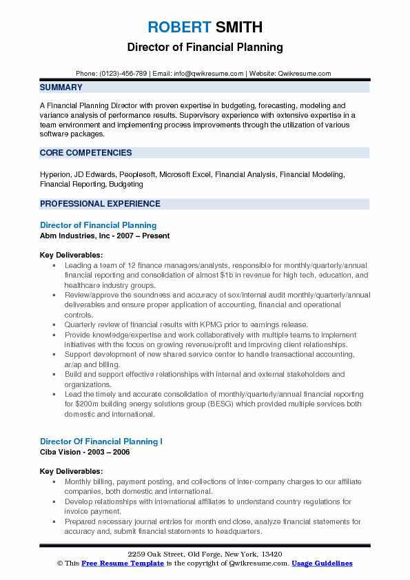 director of financial planning resume samples qwikresume and analysis pdf summary vs Resume Financial Planning And Analysis Resume