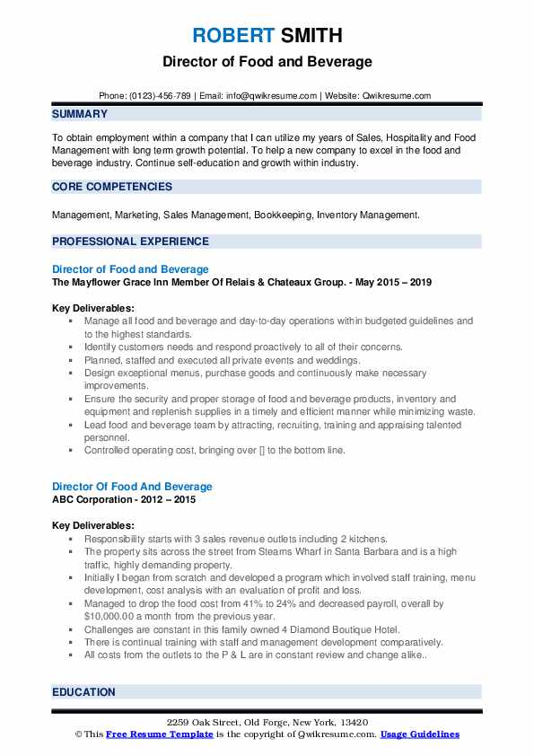 director of food and beverage resume samples qwikresume manager pdf general contractor Resume Food & Beverage Manager Resume