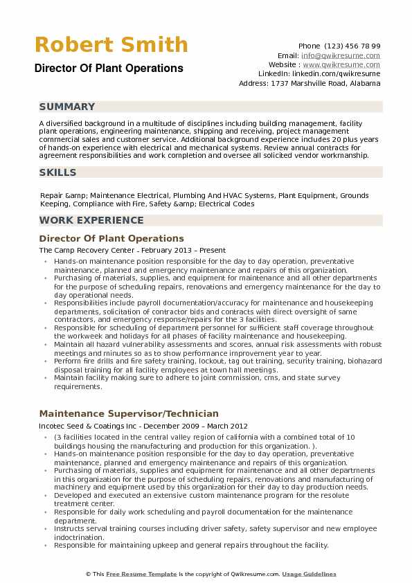 director of plant operations resume samples qwikresume building manager pdf noc Resume Building Operations Manager Resume