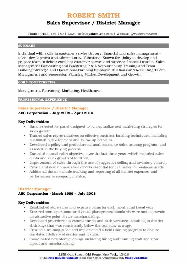 district manager resume samples qwikresume skills pdf call center objective examples Resume District Manager Skills Resume