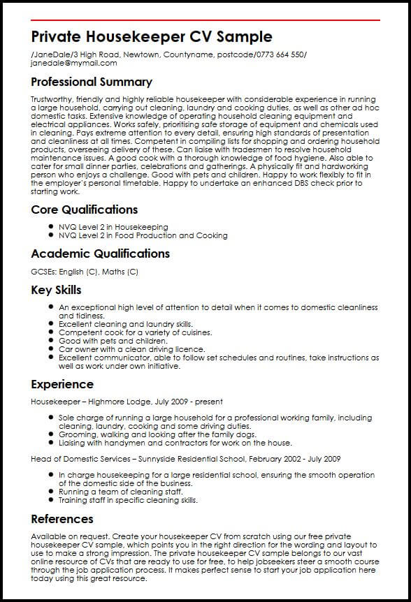 domestic cleaner cv example myperfectcv housekeeping job description for resume private Resume Housekeeping Job Description For Resume