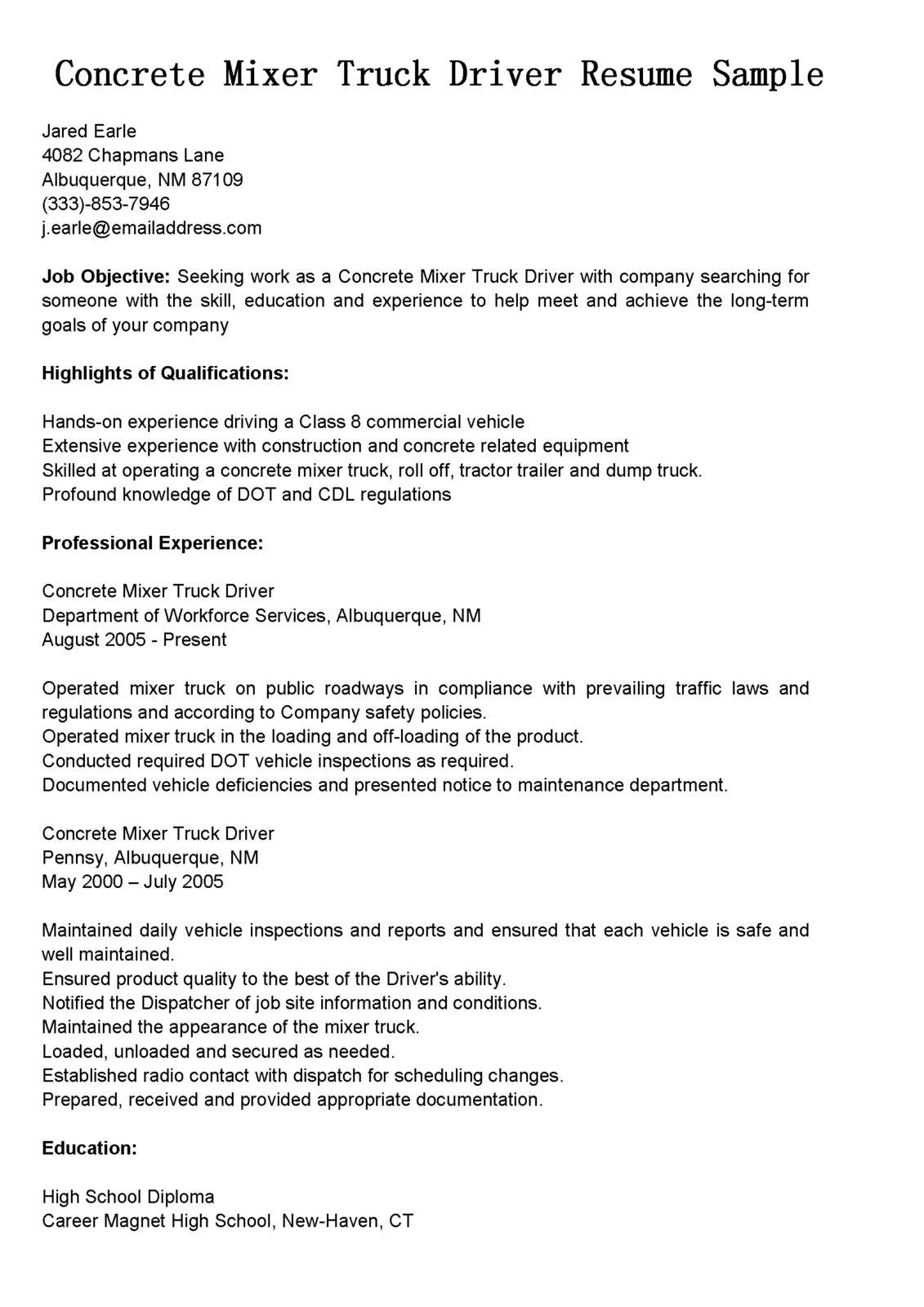 driver resumes concrete mixer truck resume sample driving objective examples housekeeping Resume Truck Driving Resume Objective Examples