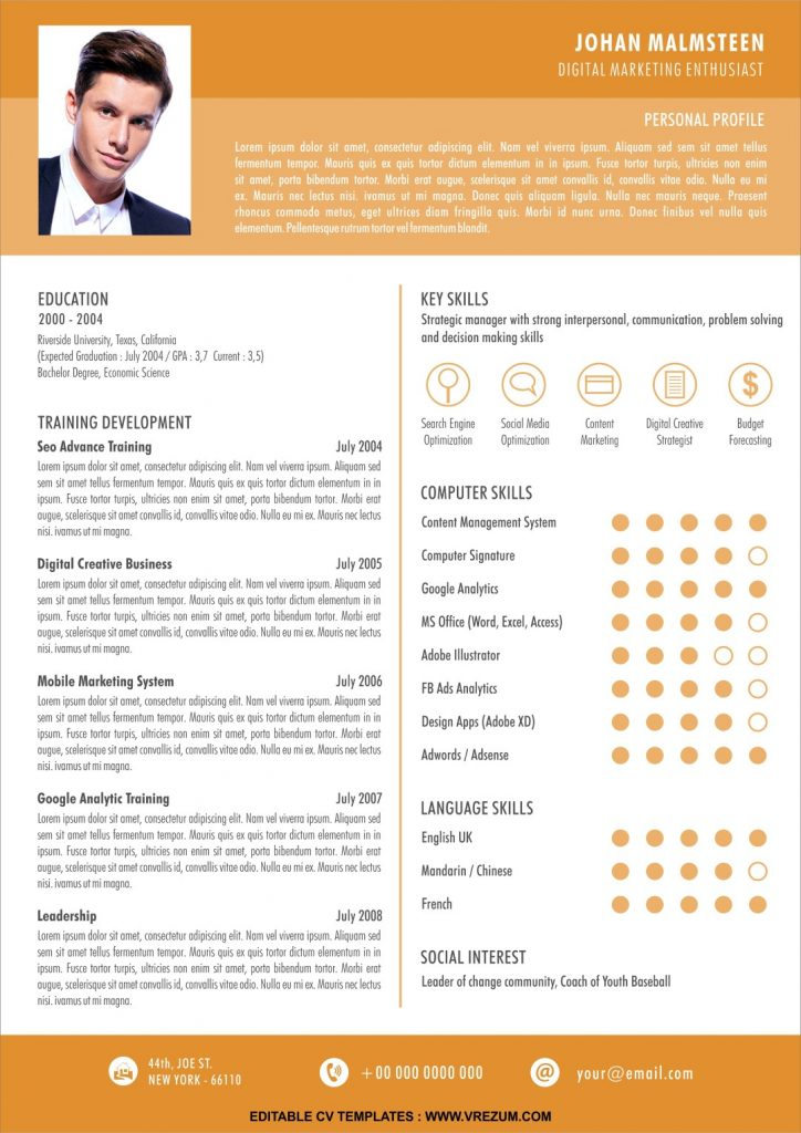 editable free cv templates for fresh graduate vrezum best resume large 724x1024 dental Resume Best Resume For Fresh Graduate