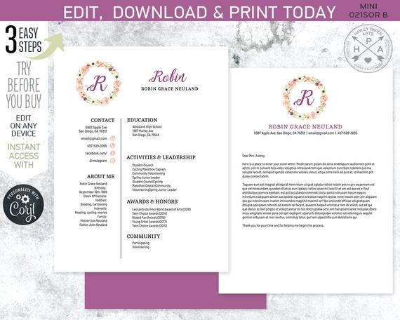 editable sorority recruitment packet mini pack resume cover etsy il 570xn ayi9 when does Resume Sorority Recruitment Resume