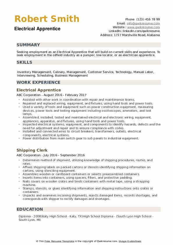electrical apprentice resume samples qwikresume electrician pdf should some college on Resume Electrician Apprentice Resume