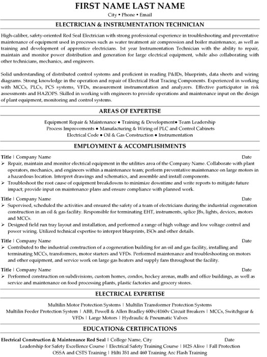 electrical technician resume sample template pos electrician instrumentation eye catching Resume Pos Technician Resume Sample