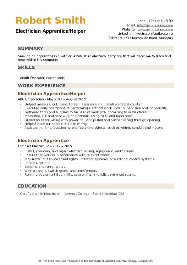 electrician apprentice resume samples qwikresume pdf ats analysis home remodeling system Resume Electrician Apprentice Resume