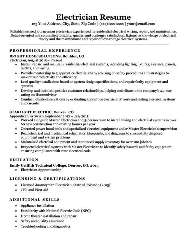 electrician resume sample mt home arts apprentice some experience for aircraft Resume Electrician Apprentice Resume