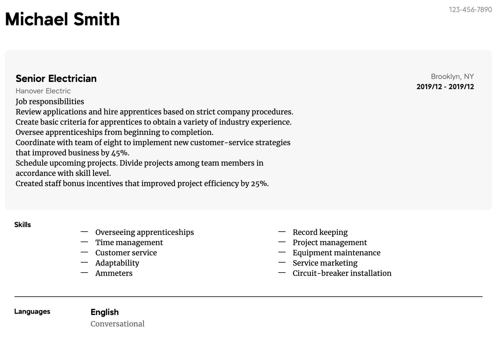 electrician resume samples all experience levels apprentice intermediate some ats Resume Electrician Apprentice Resume