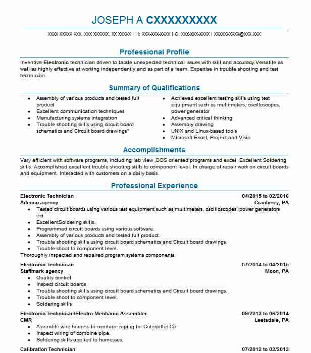 electronic technician resume example electronics resumes livecareer template sample for Resume Electronic Technician Resume Template