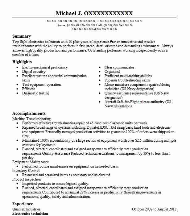 electronics technician resume example resumes misc livecareer electronic template sample Resume Electronic Technician Resume Template