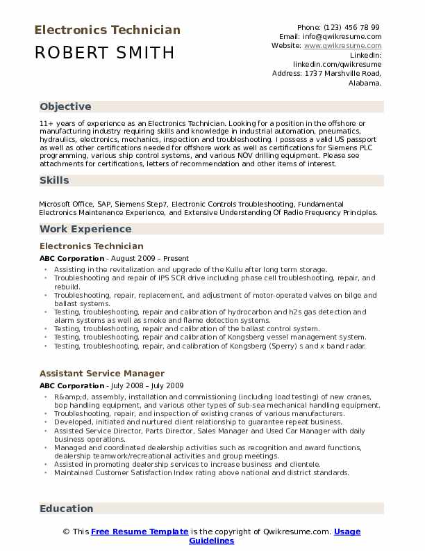 electronics technician resume samples qwikresume electronic template pdf objective for Resume Electronic Technician Resume Template