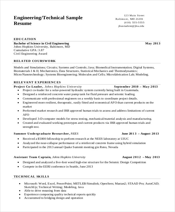 engineering resume templates pdf free premium format for engineer technical writing cover Resume Resume Format For Engineer Download