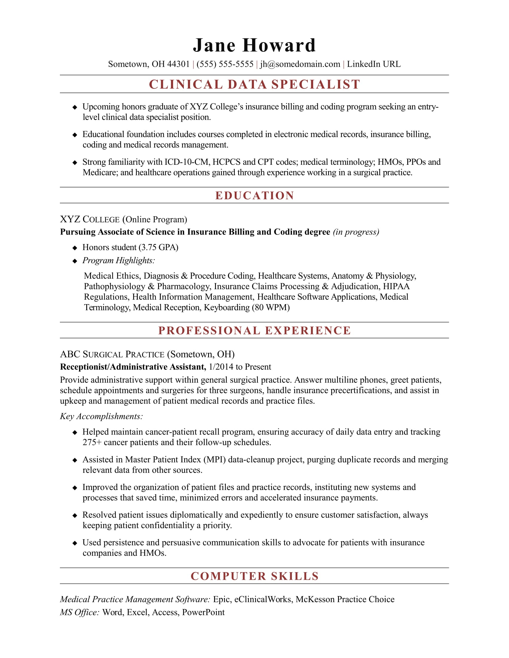 entry level clinical data specialist resume sample monster healthcare professional Resume Entry Level Healthcare Resume