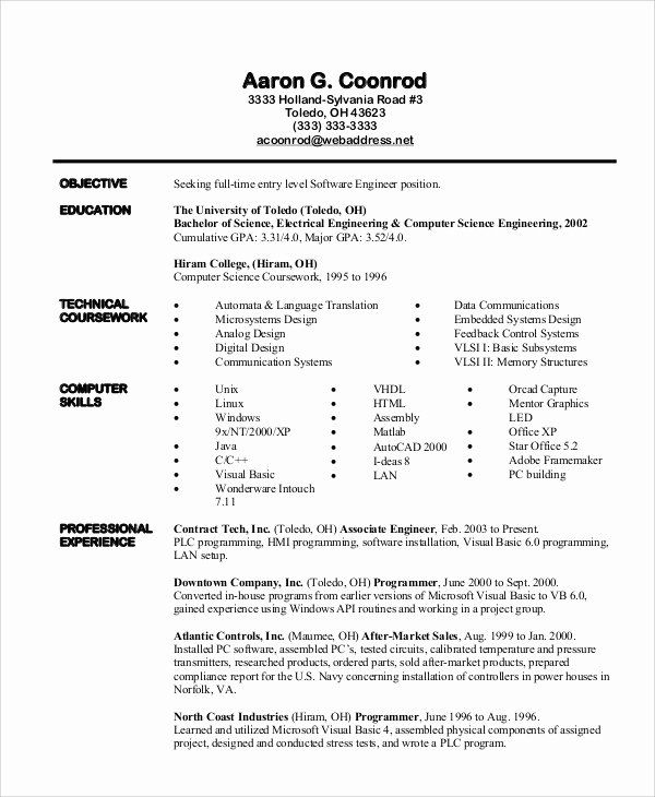 entry level engineering resume beautiful examples in software engineer plc programmer Resume Plc Programmer Resume Sample