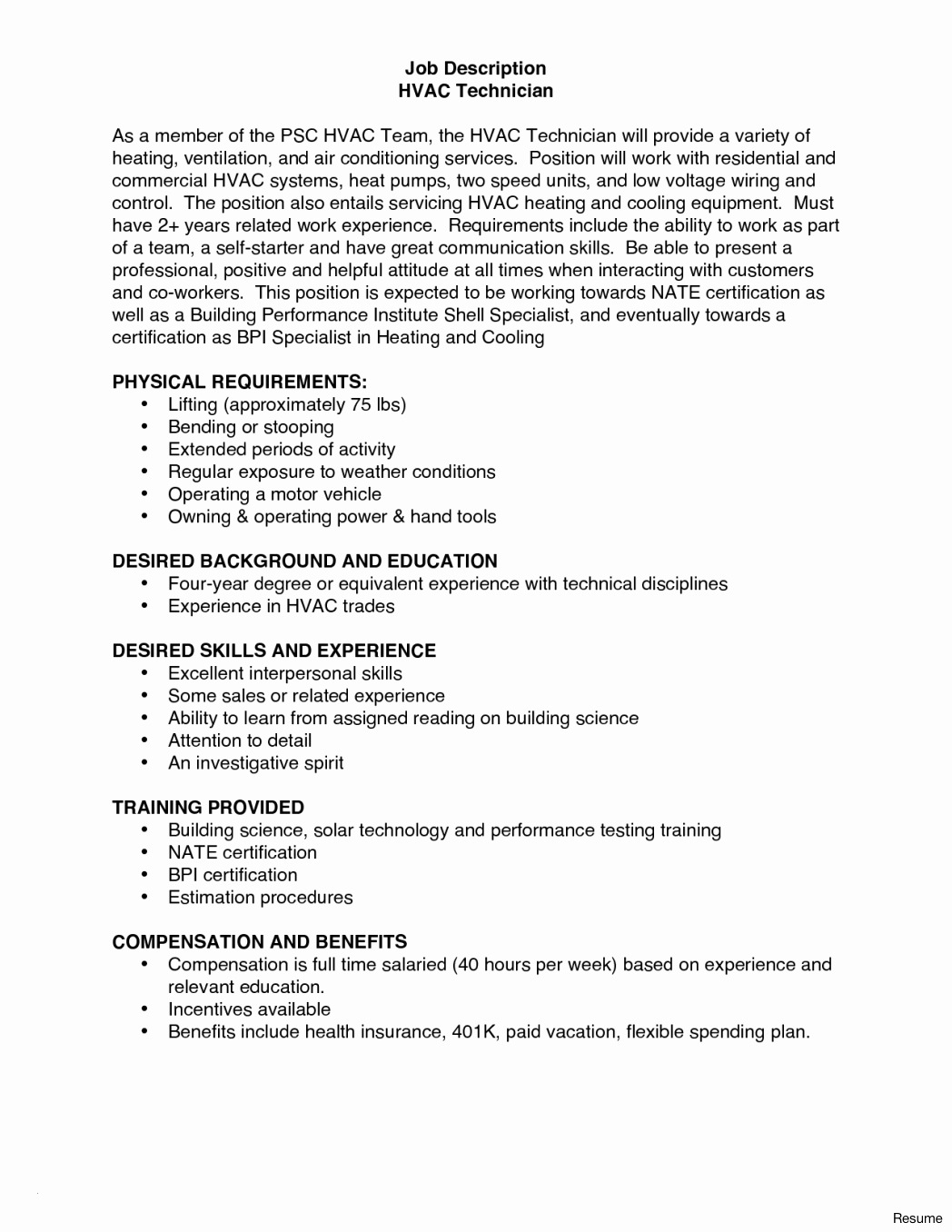 entry level hvac and refrigeration resume questions job description awesome technician Resume Entry Level Hvac Resume