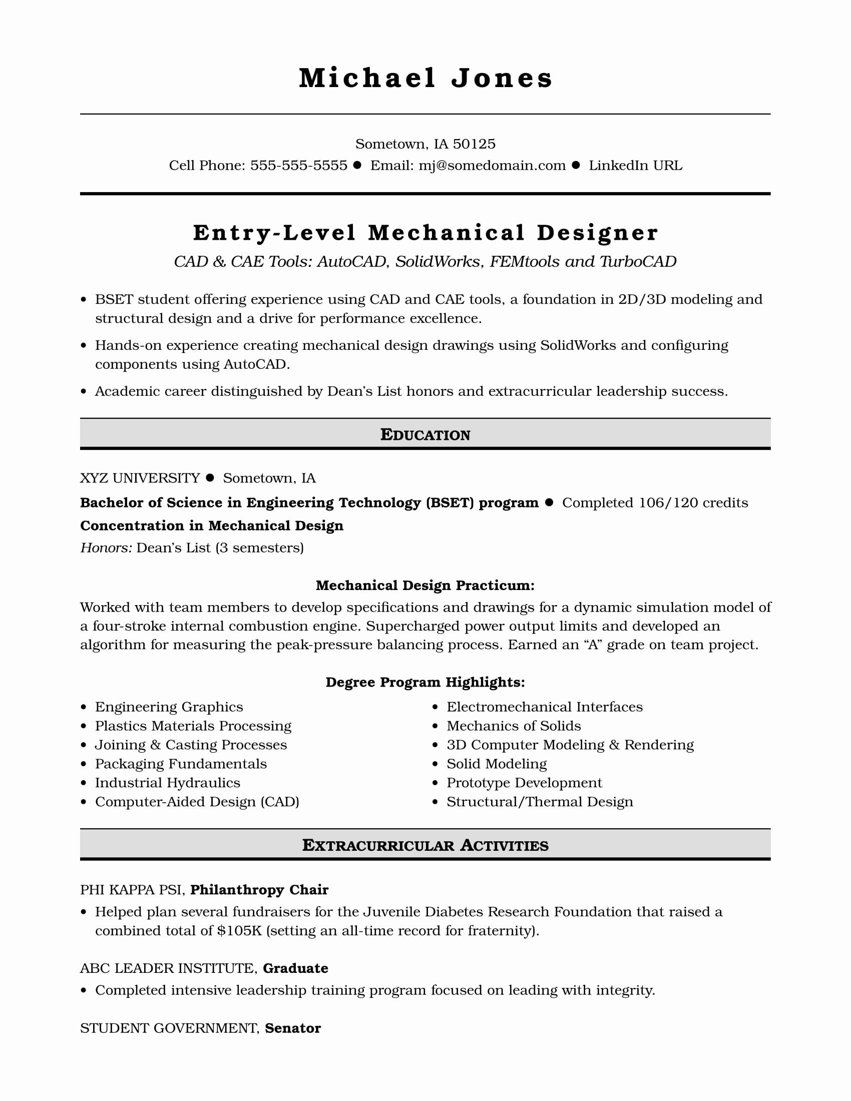 entry level software engineer resume new sample for an mechanical designer in engineering Resume Entry Level Software Engineer Resume Sample