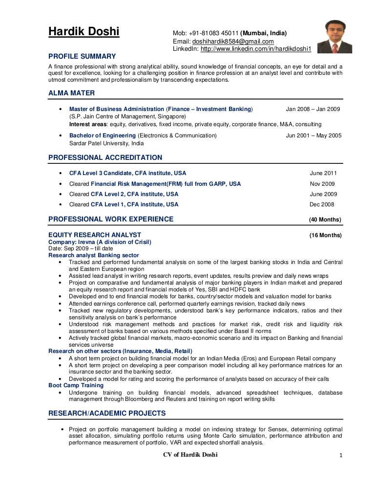 equity analyst resume research cv example template hardikdoshicv phpapp01 thumbnail does Resume Equity Research Resume Template