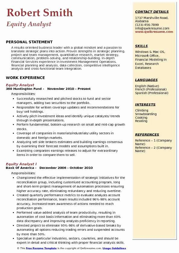 equity research analyst resume unique samples in quantitative medical template Resume Equity Research Resume Template