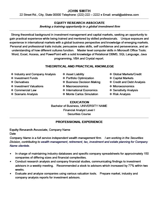 equity research associate resume template premium samples example production experience Resume Equity Research Resume Template