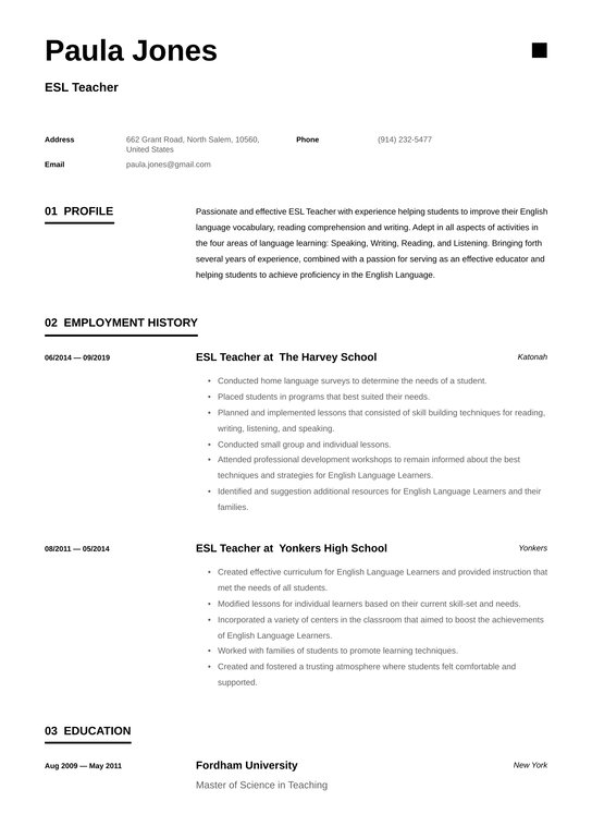 esl teacher resume examples writing tips free guide io professional good objectives for Resume Teacher Professional Resume Examples