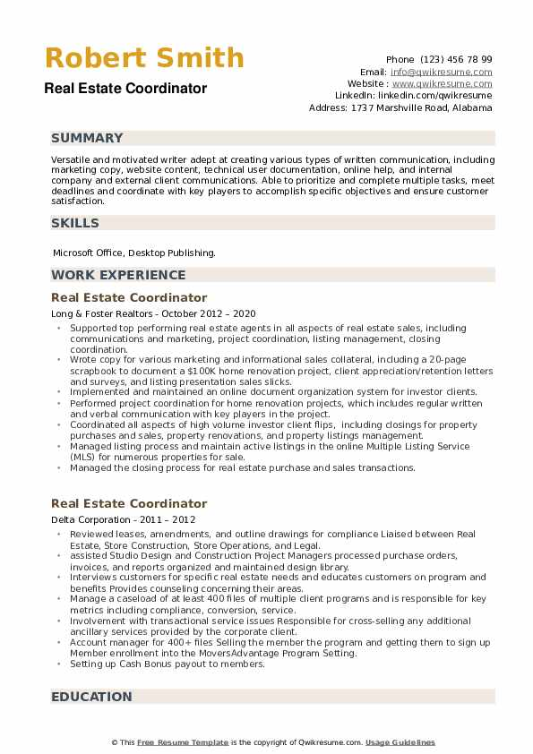 estate coordinator resume samples qwikresume pdf additional information on examples print Resume Real Estate Coordinator Resume