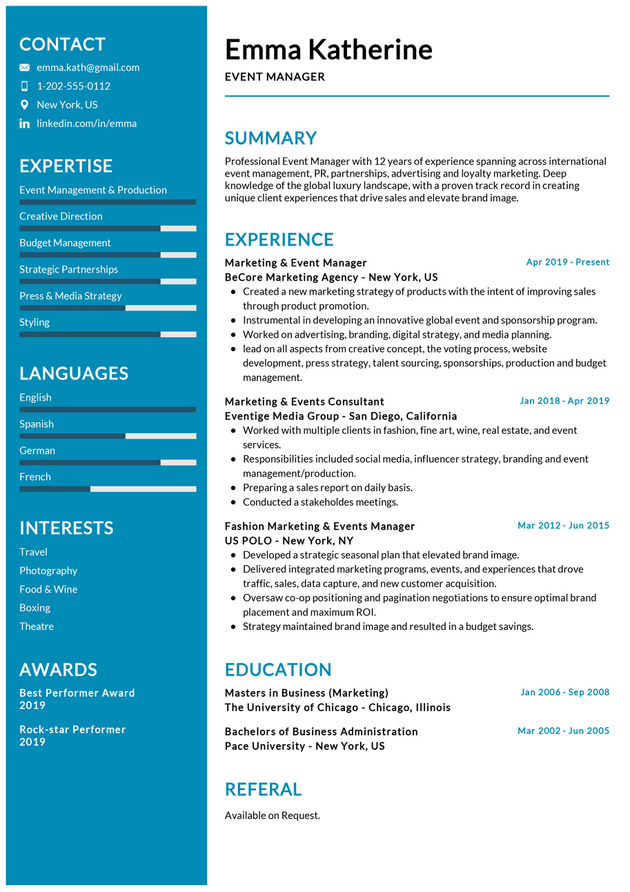 event manager resume example cv sample resumekraft examples continuing education on Resume Manager Resume Examples 2020