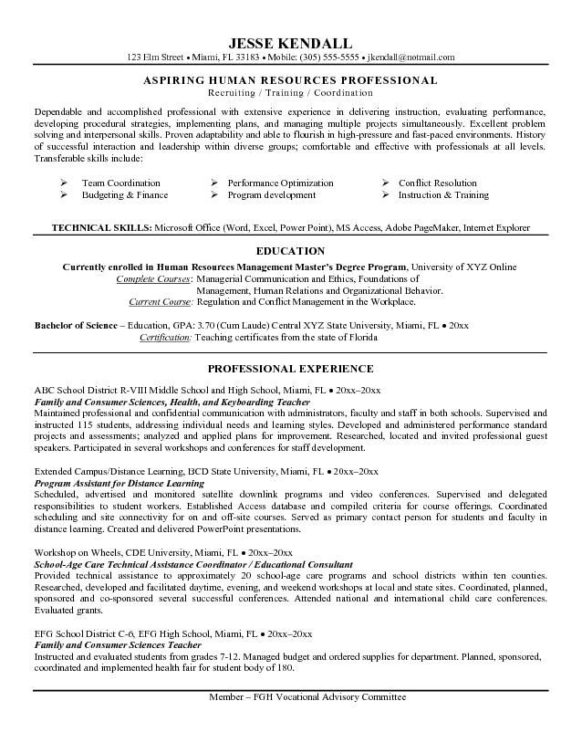 example career change teacher to hr resume free sample objective examples statement for Resume Resume For Switching Careers