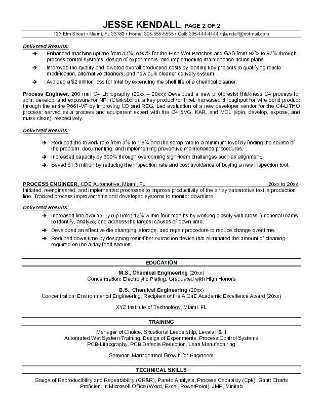 example for resume process engineer sample builder job examples templates summary listing Resume Process Engineer Resume Summary