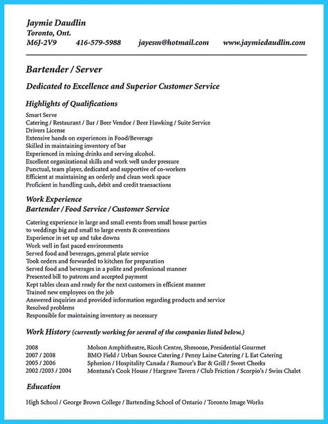 excellent ways to make great bartender resume template no experience skills job examples Resume Brown Mackie College Optimal Resume