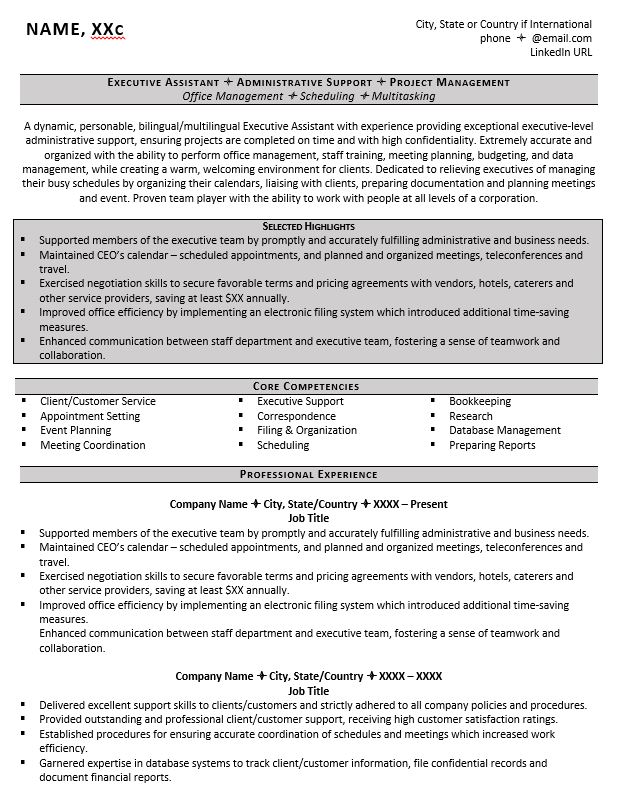 executive assistant resume example tips to writing one administrative title modern Resume Administrative Assistant Resume Title