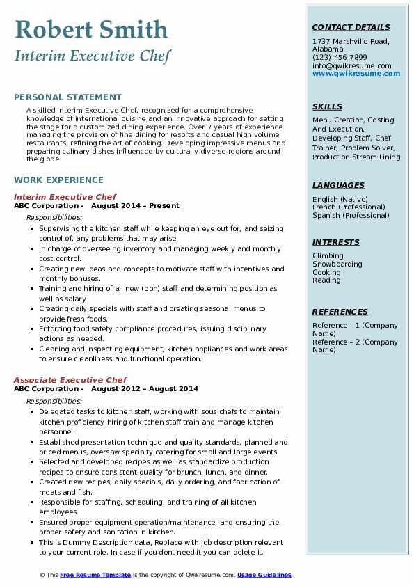 executive chef resume samples qwikresume job description for pdf drive templates when did Resume Executive Chef Job Description For Resume