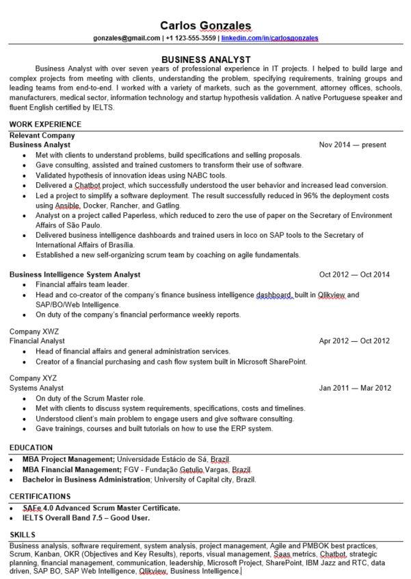 experienced it business analyst resume feedback resumes sample for years 3hcw1ze0mia11 Resume Sample Resume For Experienced Business Analyst 2 Years