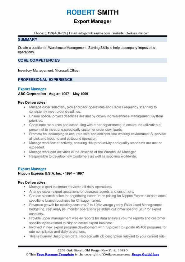 export manager resume samples qwikresume import format pdf for account assistant indian Resume Export Import Resume Format