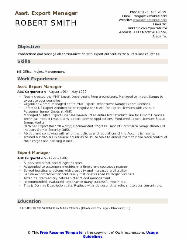export manager resume samples qwikresume import format pdf jobvite middle school student Resume Export Import Resume Format