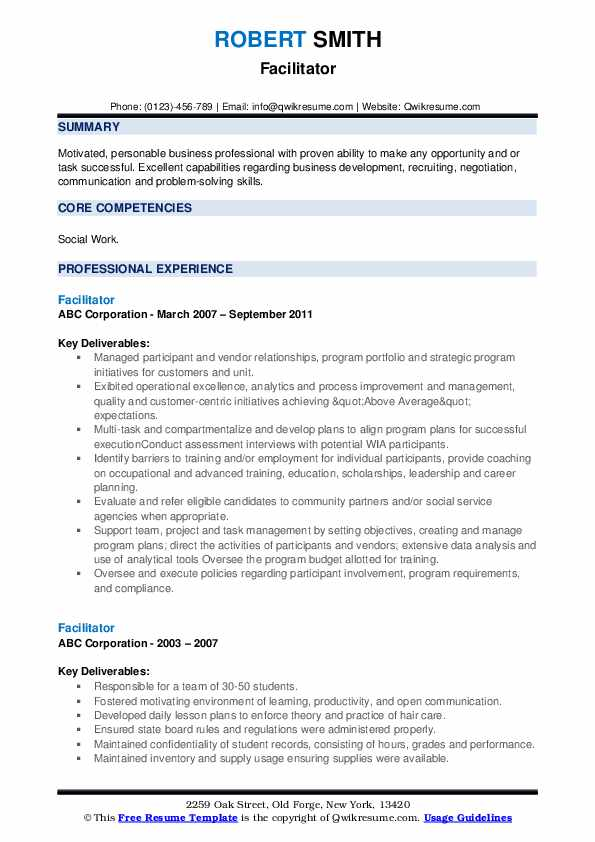 facilitator resume samples qwikresume examples of core competencies on pdf Resume Examples Of Core Competencies On Resume