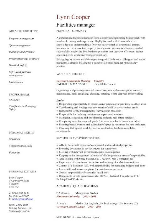 facilities manager cv sample ultimately delivering reliable safe and clean premises in Resume Building Operations Manager Resume