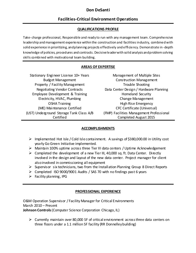 facilities manager resume building operations elementary teacher examples superintendent Resume Building Operations Manager Resume