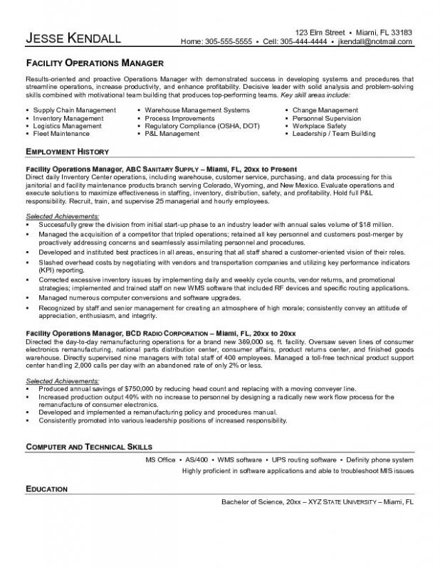 facilities manager resume sample template cover letter for operations management facility Resume Facility Operations Manager Resume Sample